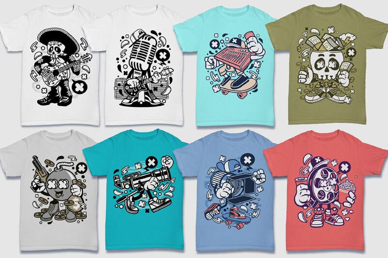 Cartoon Vector Part 5 T-shirt Designs Preview 01