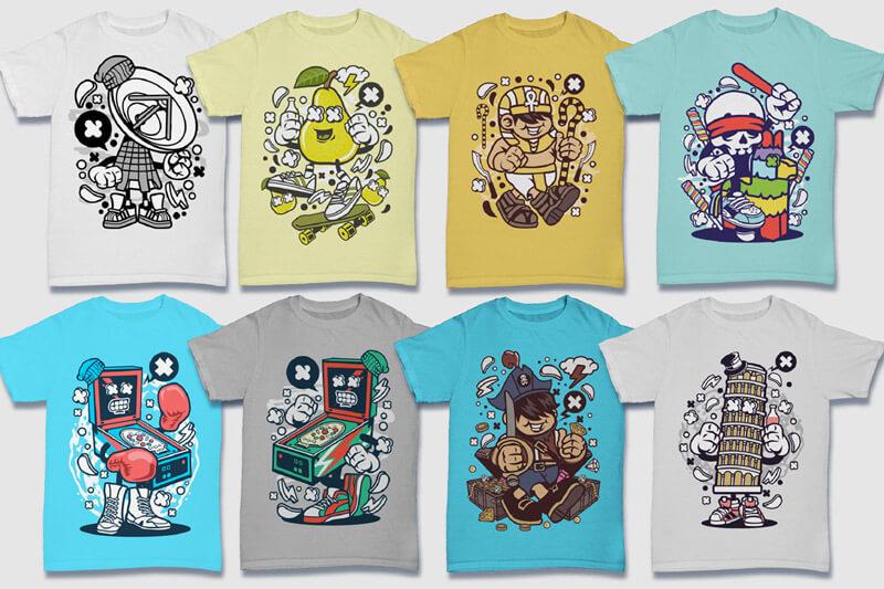 Cartoon Vector Part 5 T-shirt Designs Preview 02