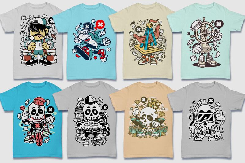 Cartoon Vector Part 5 T-shirt Designs Preview 03