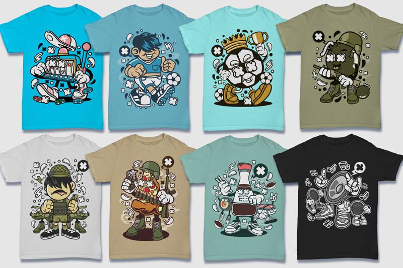 Cartoon Vector Part 5 T-shirt Designs Preview 04