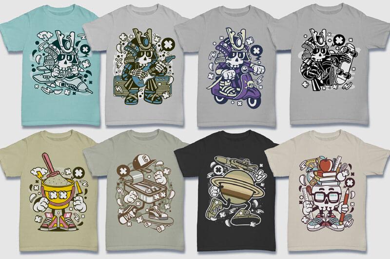 Cartoon Vector Part 5 T-shirt Designs Preview 05
