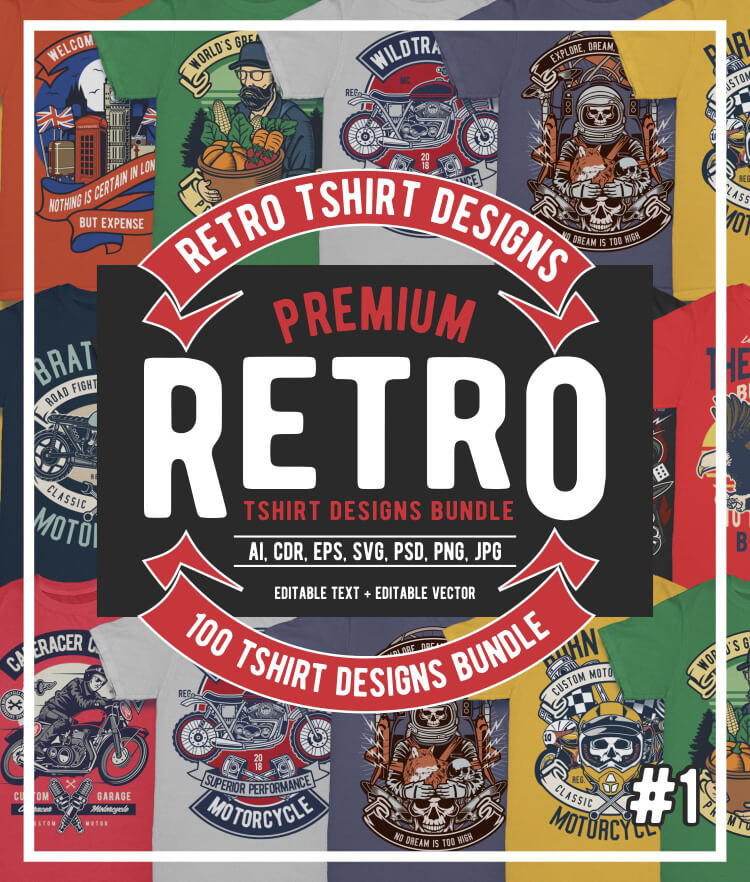100 Retro T shirt Designs Cover