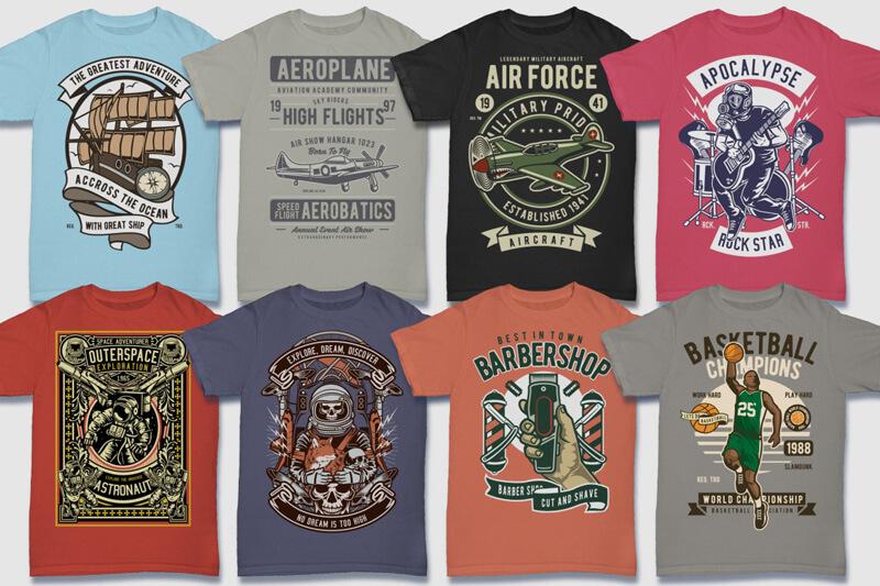 100 Retro T shirt Designs Preview 01