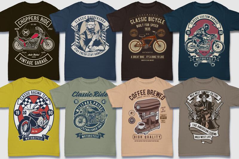 100 Retro T shirt Designs Preview 03