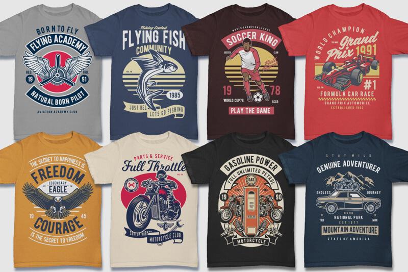 100 Retro T shirt Designs Preview 05