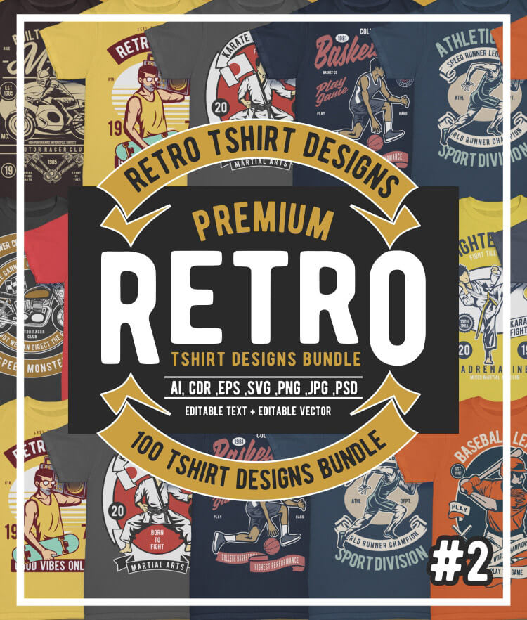100 Retro T-shirt Designs Vol 2 Cover