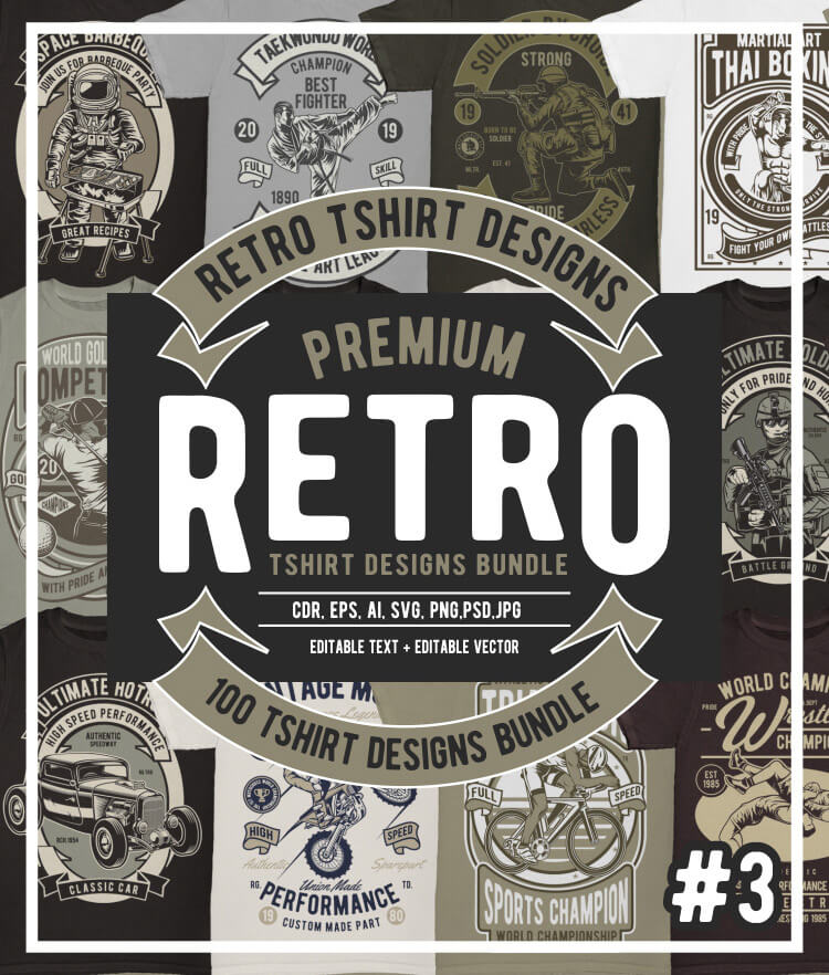 100 Retro T shirt Designs Vol 3 Cover