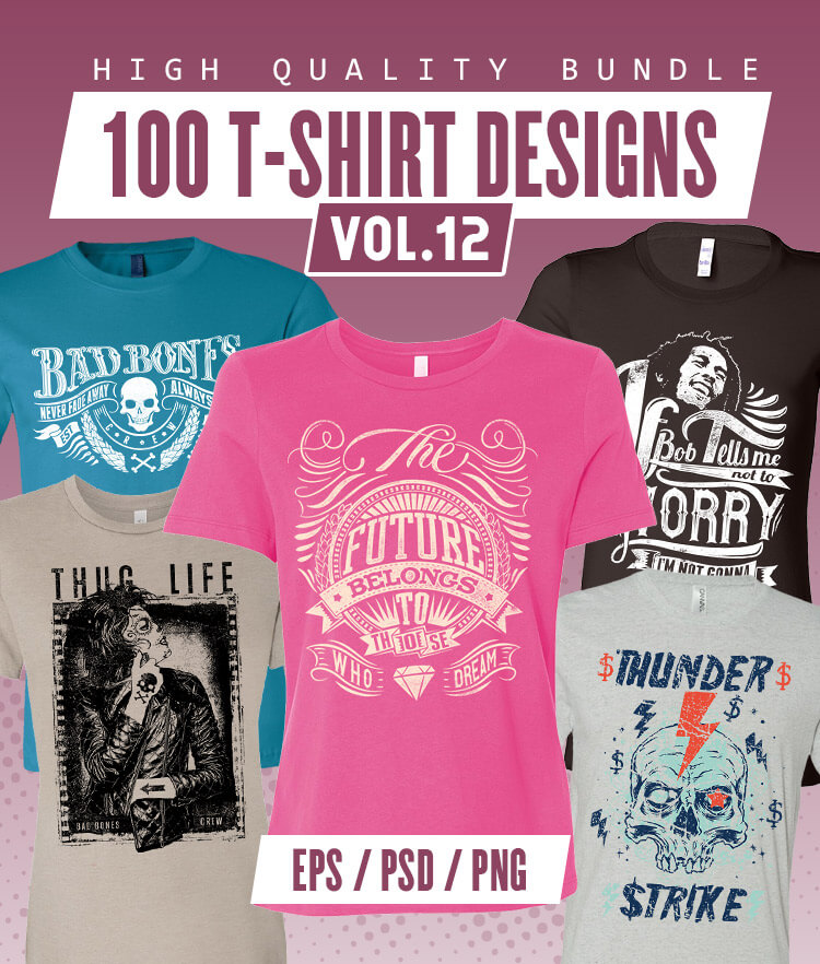 100 T-shirt Designs Vol 12 Cover 750x882px