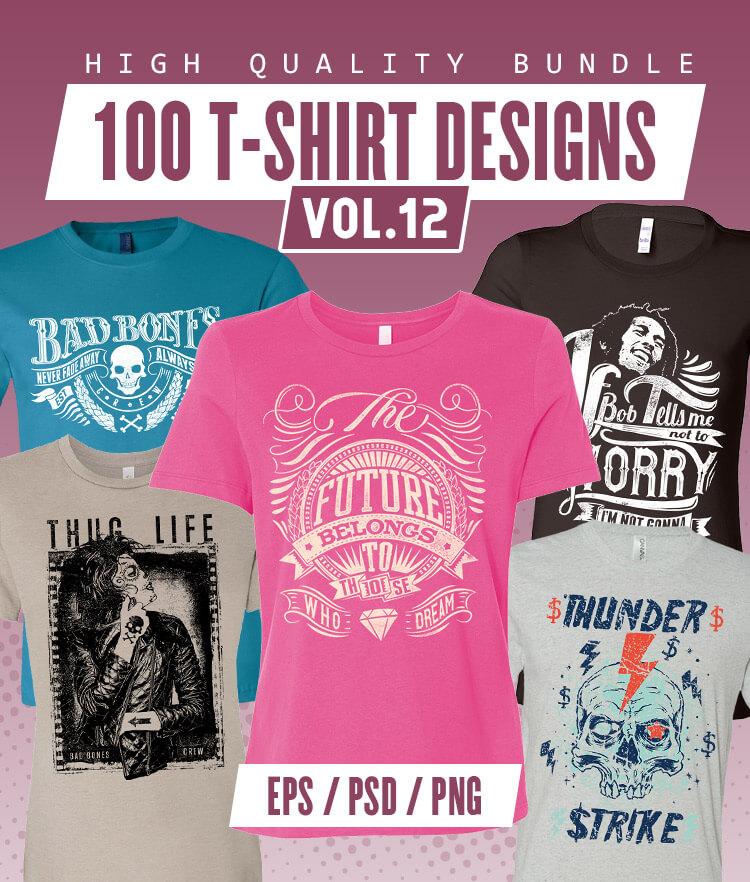 100 T-shirt Designs Vol 12 Cover 750x882px