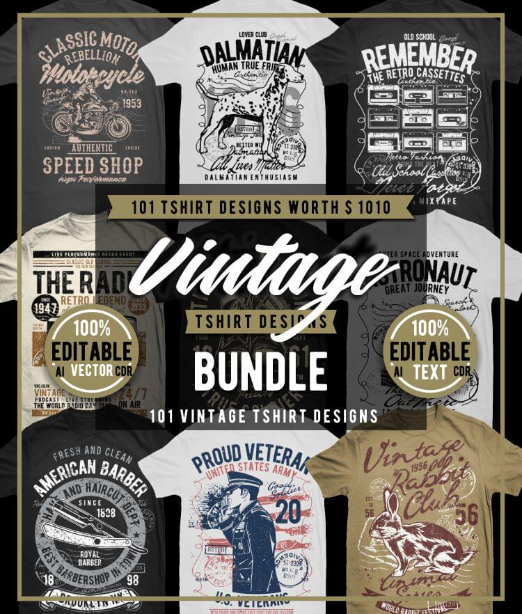 Vintade T-shirt Designs Bundle