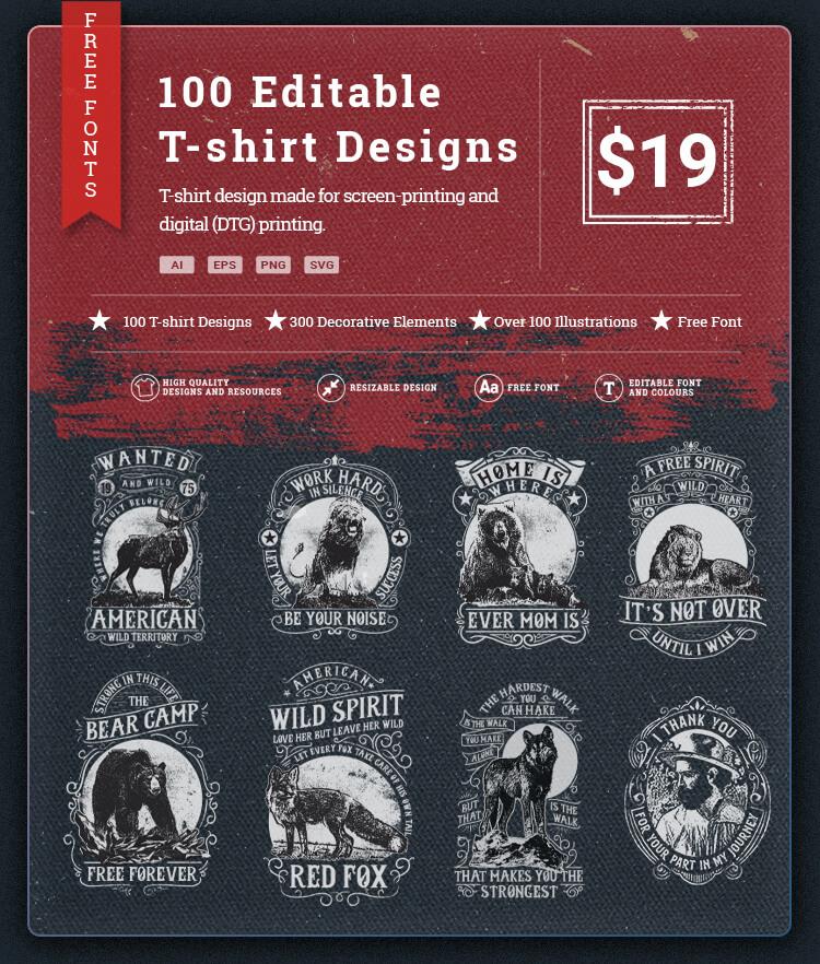 100 Editable T-shirt Designs Bundle Cover v2